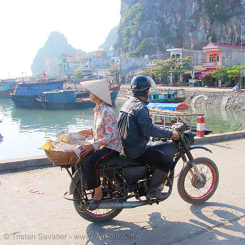 Мотоциклы Минск 125 - soviet-made minsk 125cc motorcycle - vietnam, 125cc, asian woman, back to back, man, minsk motorcycle, rider, riding, road, vietnam, минск 125, мотоциклы