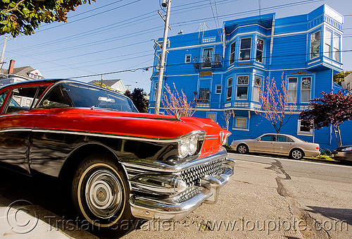1958 buick special coupe - red - blue house (san francisco), 1958, automobile, blue house, buick special, classic car, coupe, front, red, victorian house