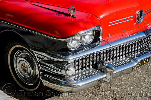 1958 buick special - red coupe (san francisco), automobile, car, classic car, front, grid, headlight