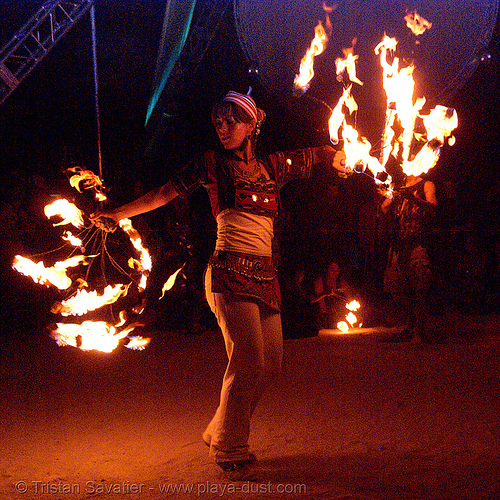 burning man 2007, fire dancer, fire dancing, fire flies, fire performer, fire spinning, flames, night, woman