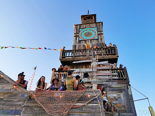 2019 - burning man, art installation, building, burning man, clocktower, construction, the folly