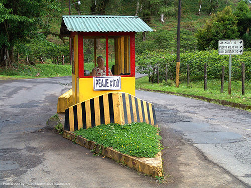 25c toll booth (costa rica), costa rica, peaje, tollbooth