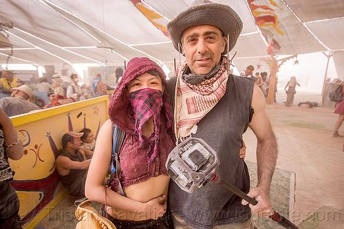 360-degree spherical mount with 6 gopro cameras - burning man 2015, bandana, burning man, center camp, couple, freedom360, gopro, hat, pole, video camera, woman