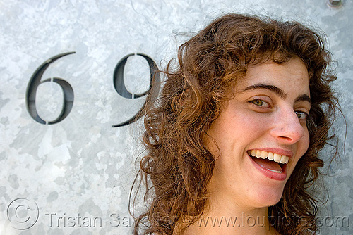 69 girl - sarah, 69, cut, cutting, dog patch, metal plate, numbers, sarah, woman, zinc