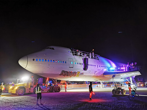 747 plane art car - burning man 2019, 747 art car, burning man, mutant vehicles, night