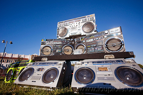 A boombox affaire, boomboxes, dj, dolores park, ghettoblasters, radio, stereo
