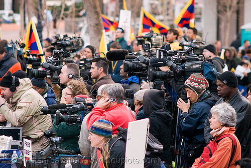 A lot of news media with video cameras at the free tibet / anti-china protests (san francisco), anti-china, candle lights for human rights, cia, flags, free tibet, journalists, news media, press, propaganda, protests, rally, tibetan independence, tv, video cameras