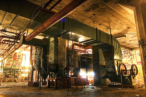 abandoned factory (san francisco), derelict, ducts, pipes, tie's warehouse, trespassing