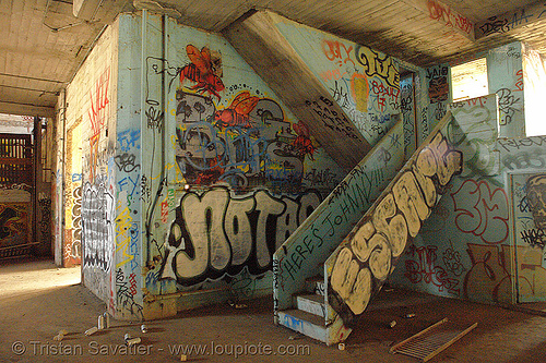 abandoned factory (san francisco), derelict, graffiti, graffiti piece, industrial, pieces, street art, tags, tie's warehouse, trespassing
