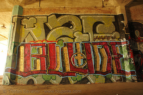 abandoned factory (san francisco), blude, derelict, graffiti, graffiti piece, industrial, street art, tags, tie's warehouse, trespassing