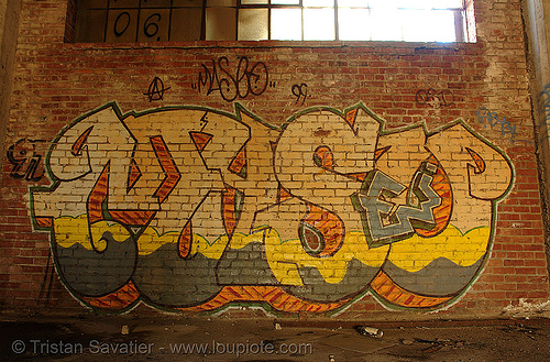 abandoned factory (san francisco), derelict, graffiti piece, maseo, street art, tie's warehouse, trespassing