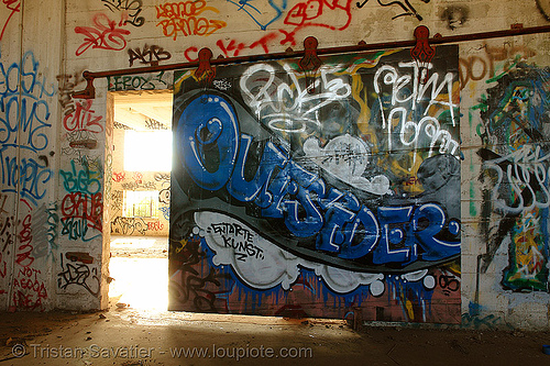 abandoned factory (san francisco), derelict, door, graffiti piece, street art, tie's warehouse, trespassing