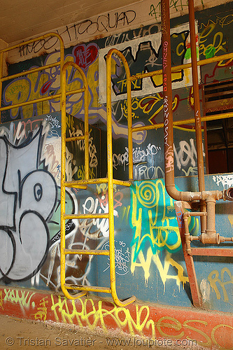 abandoned factory (san francisco), derelict, graffiti, industrial, street art, tags, tie's warehouse, trespassing