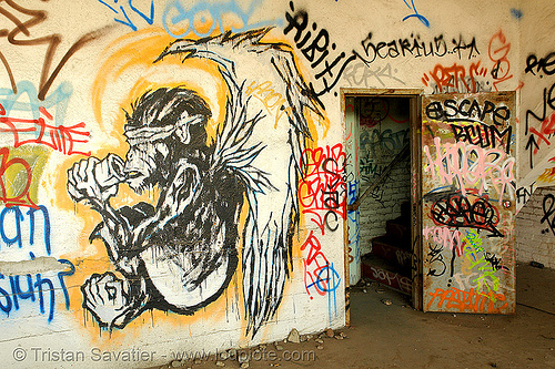 abandoned factory (san francisco), derelict, graffiti piece, monkey, street art, tie's warehouse, trespassing