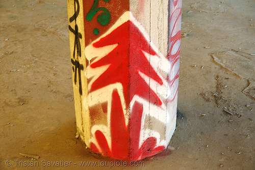 abandoned factory (san francisco), column, derelict, graffiti, pillar, plant trees, plantrees, red, street art, tie's warehouse, trespassing