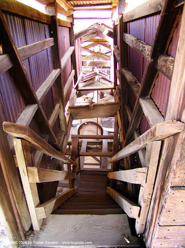 abandoned mercury smelter - new idria, cinnabar smelter, decay, industrial, pespective, stairs, steps, urban exploration