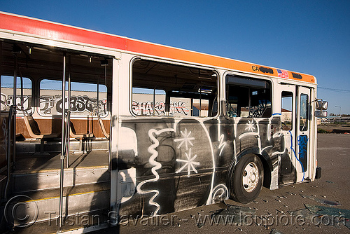 abandoned muni bus with graffiti (san francisco), autobus, bus, graffiti, junkyard, no trespassing, vandalism