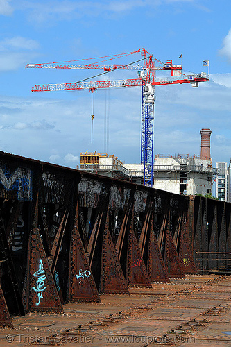 abandoned railway bridge (paris, france), bridge, construction cranes, paris, smoke stack, trespassing