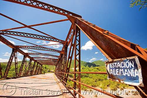 abandoned train station - estación alemania (argentina), argentina, cafayate, estacion alemania, estación alemania, noroeste argentino, rusty, sign, train station, truss bridge