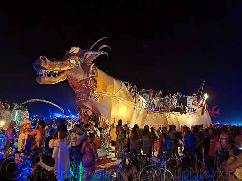 abraxas dragon art car - burning man 2019, abraxas dragon art car, burning man, mutant vehicles, night