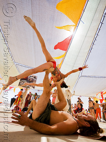 acro yoga - burning man 2008, acro yoga, burning man, dawn, shayen