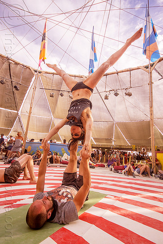 acro-yoga - burning man 2015, acro-yoga, azami, burning man, center camp, couple, legs spread, spread eagle, upside down, woman