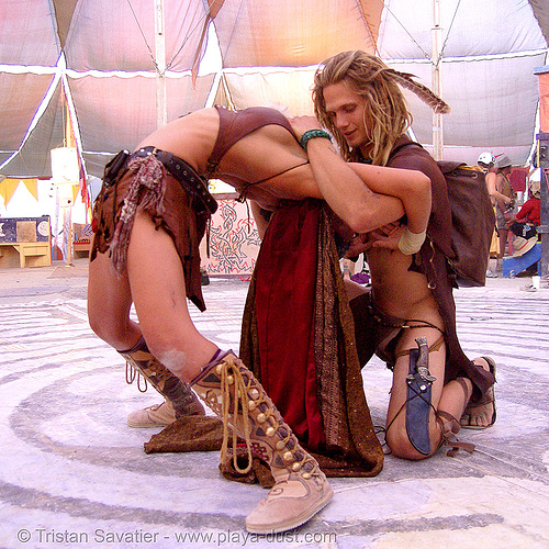 acro yoga in center camp - burning man 2007, acro yoga, burning man, center camp, couple, woman