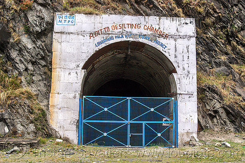 adit to desilting chamber - loharinag-pala hydro power project (india), adit, bhagirathi valley, closed, entrance, gate, hydro electric, infrastructure, locked, loharinag-pala hydro power project, tunnel