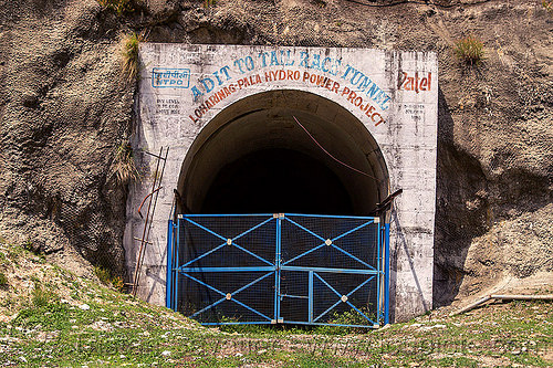 adit to tail race tunnel - loharinag-pala hydro power project (india), adit, bhagirathi valley, closed, entrance, gate, hydro electric, infrastructure, locked, loharinag-pala hydro power project, trespassing, tunnel