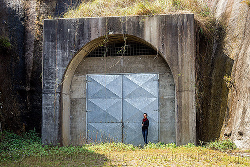 adit - tunnel entrance closed with metal door (nepal), adit, anne-laure, closed, concrete, gate, hydro-electric, infrastructure, metal door, tunnel, woman