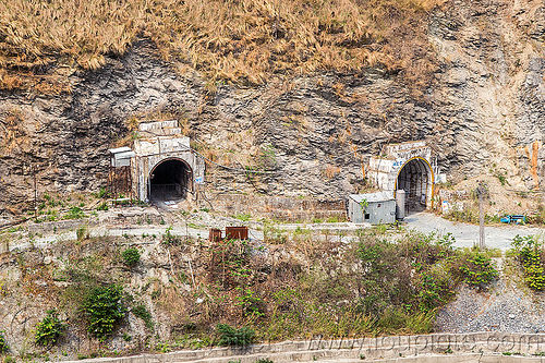 adits to teesta power house - tunnels entrances (india), adit, hydro electric, india, road, teesta river, tista, tunnels, west bengal