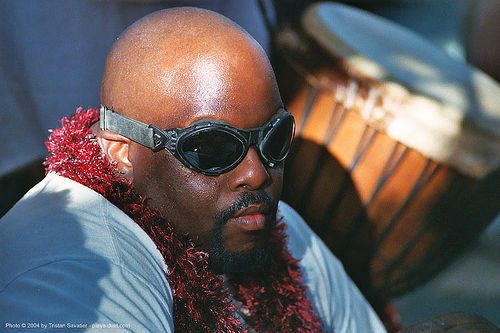 african american man with goggles - burning-man 2003, african american man, black man, burning man, goggles