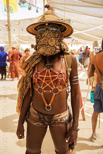 african american woman - burning man 2016, african hat, burning man, center camp, goggles, leather straps, straw hat, woman