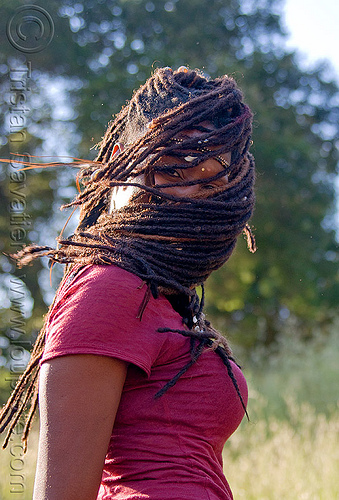 dreadlocks mask, black woman, dancing, dreads, lala love, masked, spring training, thin dreadlocks