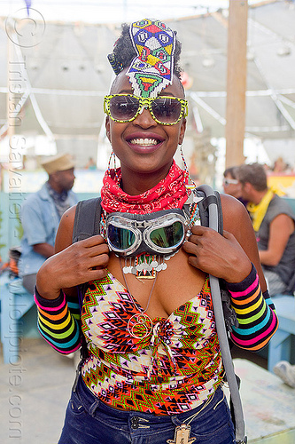 african woman - burning man 2013, burning man, center camp, goggles, headdress, sunglasses, woman