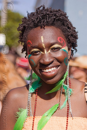 african woman with green feather earrings, awa, carnival, carnival costume, facepaint, people, samba dancer