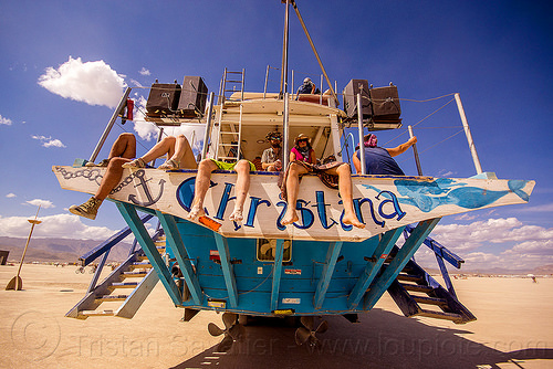 aft of christina yacht - burning man 2015, aft, art boat, art car, burning man, christina, ladders, legs, propellers, ship, steps, yacht