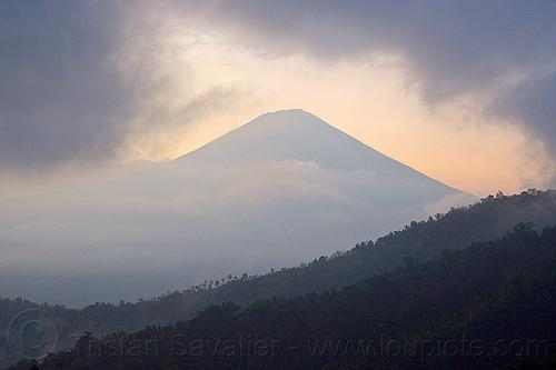 agung volcano, bali, clouds, cloudy, forest, gunung agung, haze, hazy, mountains, rainforest, stratovolcano