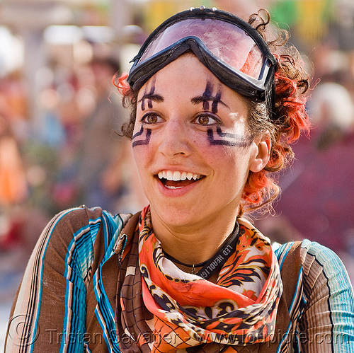 ahni radvany, ahni radvany, burning man, center camp, goggles, woman