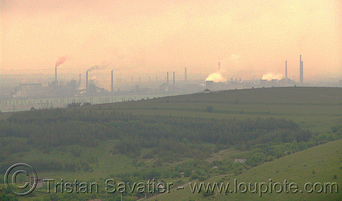 air pollution - environment - smokestacks near sofia (bulgaria), air pollution, environment, haze, hazy, smog, smoke, smokeskack, smokestacks, sofia