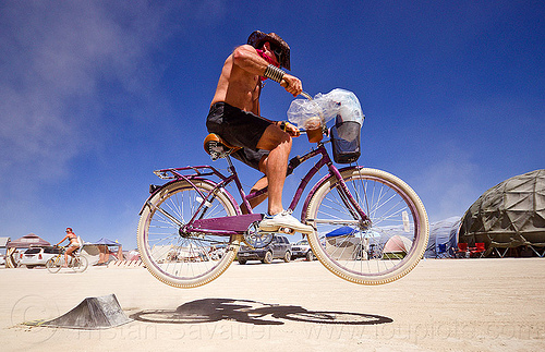 airborne bicycle - burning man 2012, bicycle, bike, jump, man, ramp of death