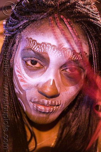 airbrush makeup - stencil skull face paint - makay, airbrush stencil, day of the dead, dia de los muertos, face painting, facepaint, halloween, makeup, night, woman