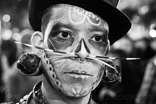 airbrush skull makeup - dia de los muertos - halloween (san francisco), airbrush stencil, body jewelry, day of the dead, dia de los muertos, ear piercing, face painting, facepaint, gauged ears, halloween, makeup, man, night, nose piercing, septum piercing, stretched earlobes
