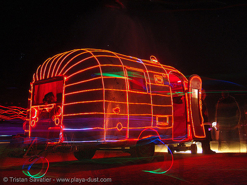 airstream dream - burning-man 2005, art, art car, burning man, el-wire, electroluminescent wire, night