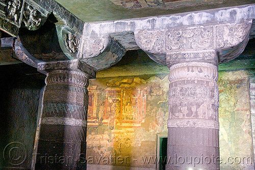 ajanta caves - ancient buddhist temples (india), ajanta caves, buddhism, buddhist temple, carving, cave, columns, hindu temple, hinduism, rock-cut