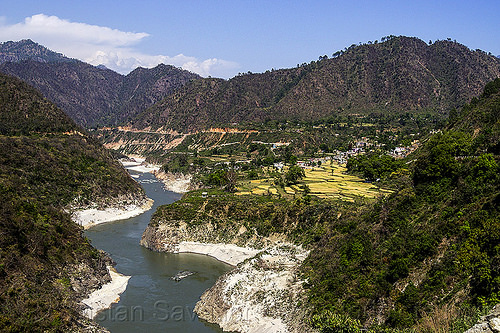 alaknanda river valley (india), alaknanda river, hills, mountains, river bed, valley, water, winding