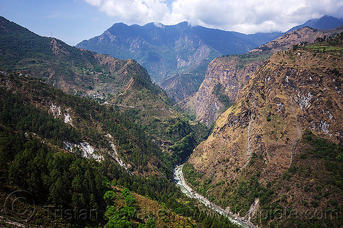 alaknanda valley near joshimath (india), alaknanda river, alaknanda valley, india, mountains, v-shaped valley