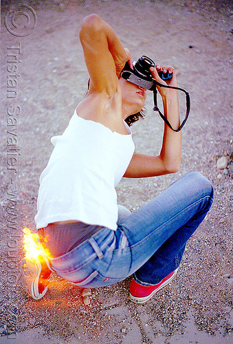 alex taking a photo, double exposure, film camera, fire, flames, photographer, woman