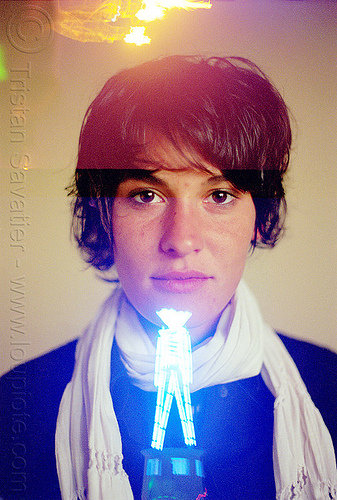 alex with burning man, burning man, double exposure, neck scarf, neon, the man, woman