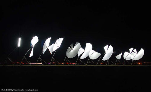 alien semaphore - burning-man 2004, art, burning man, fluorescent, long exposure, neon lights, night